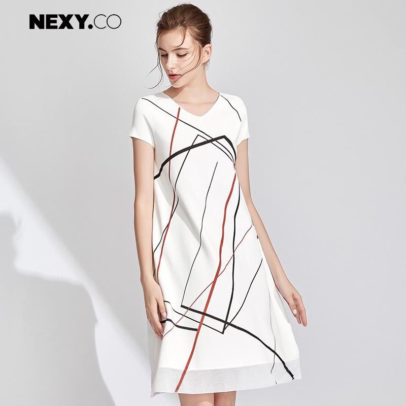NEXY.CO-奈蔻中长款宽松简约冰丝短袖针织连衣裙直筒裙夏季新品