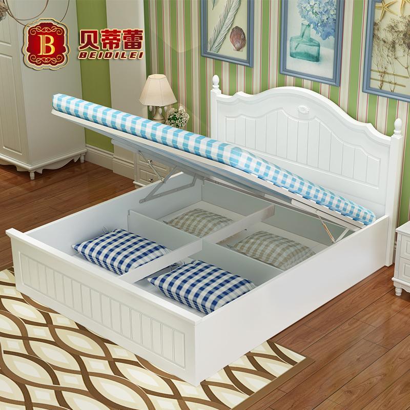 公主床1.2韩式田园床1.35米高箱床1.5-1.8欧式婚床主卧床 储物床
