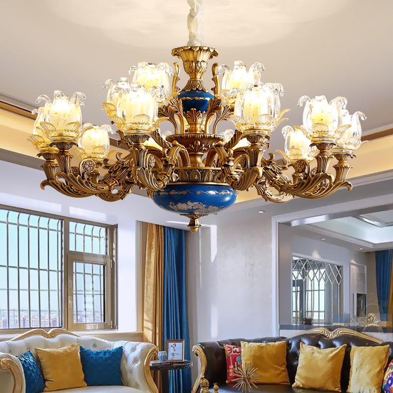 欧式客厅吊灯复古锌合金灯具手工陶瓷描金艺术餐厅卧室灯法式吊灯