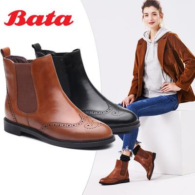 Bata-拔佳冬季英伦经典布洛克牛皮切尔西靴女短靴1182DD7