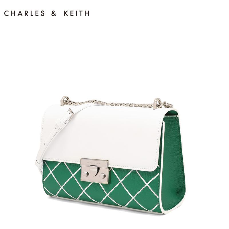 CHARLES&KEITH 小方包 CK2-70680679 时尚撞色翻盖式格纹单肩包
