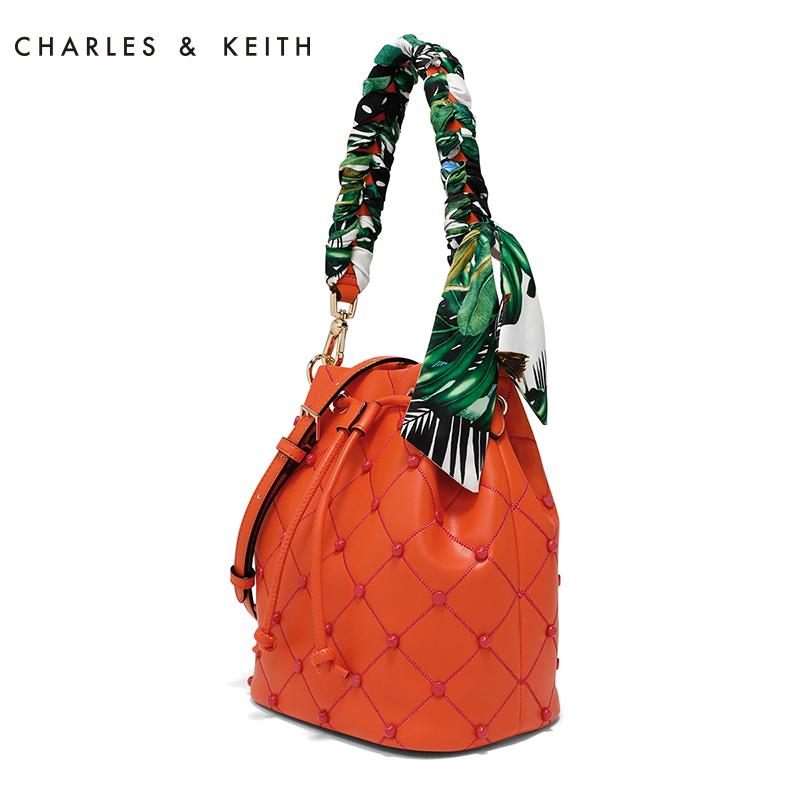 CHARLES&KEITH 单肩包 CK2-20780564 优雅丝带装饰格纹时尚女包