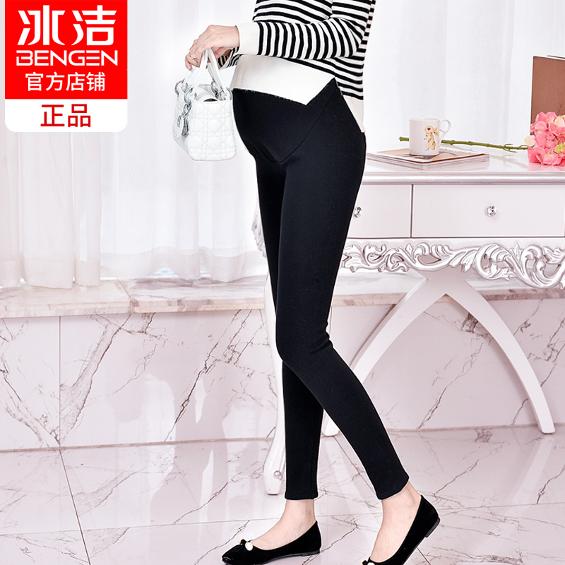 Ice clean pregnant women pants leggings plus velvet padded belly pants autumn and winter adjustable waichuan large size pregnant women feet trousers