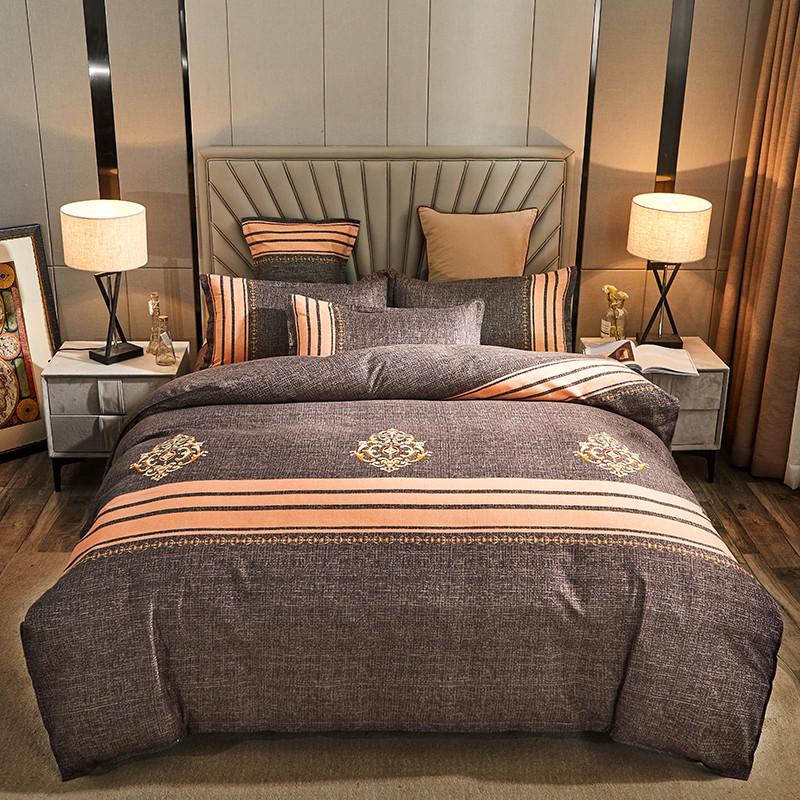 全棉加厚四件套纯棉宿舍磨毛被套保暖床单双人斜纹宿舍4件套裸睡