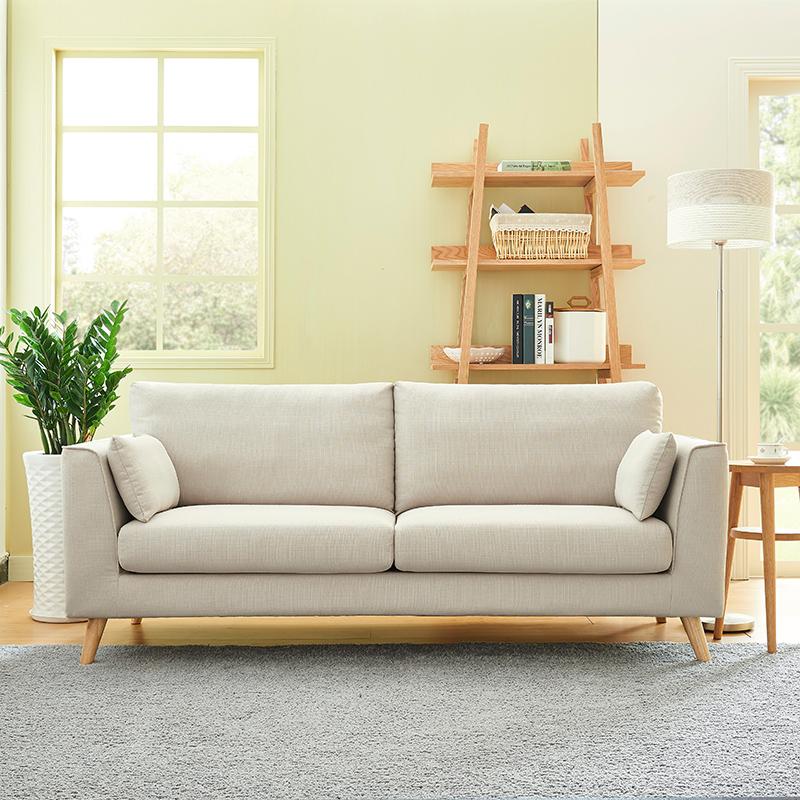北欧日式ins风布艺沙发现代双人客厅小户型三人简约两人沙发整装