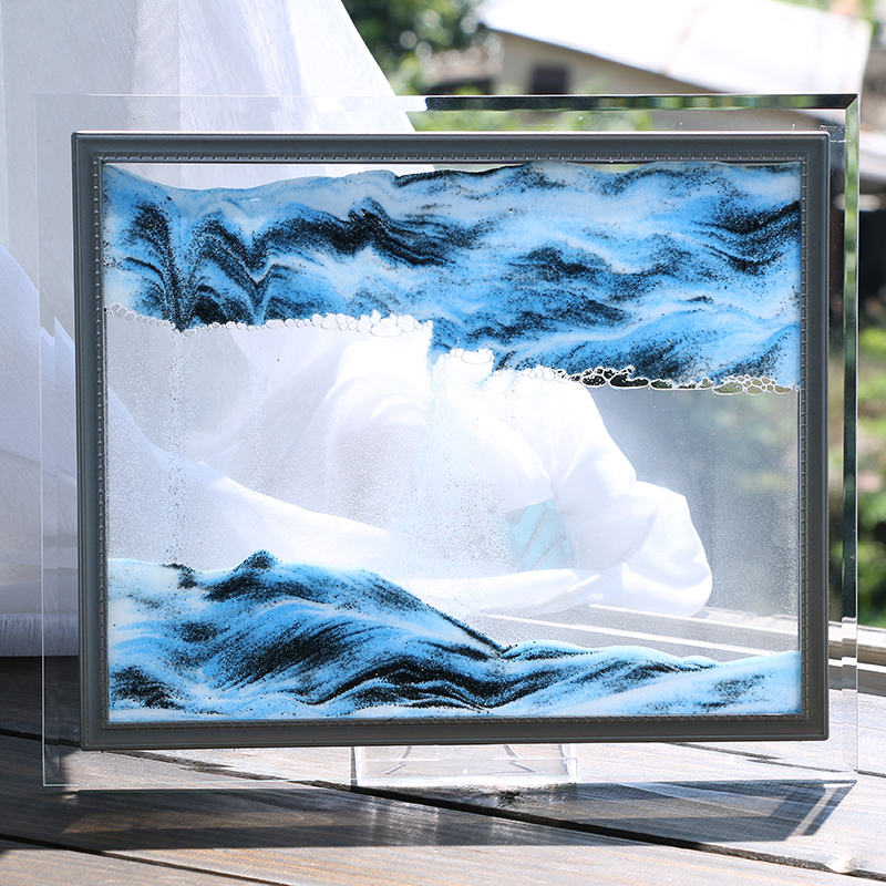 3d玻璃流沙画沙漏摆件家居装饰品现代简约客厅办公室创意生日礼物