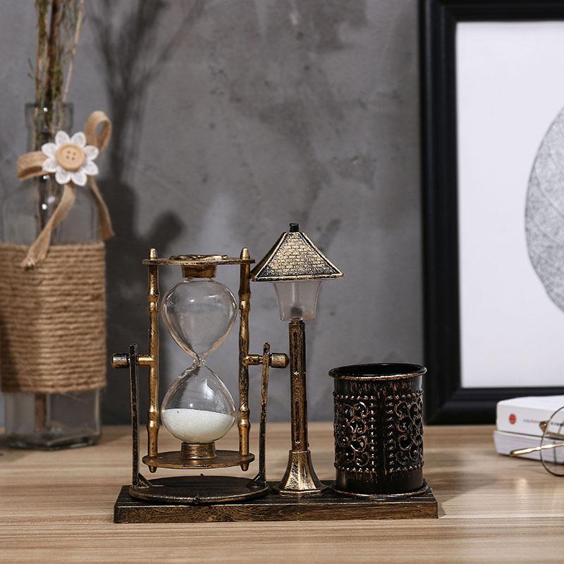 创意复古欧式小灯夜灯桌面床头摆件带笔筒沙漏送女男朋友闺蜜礼品
