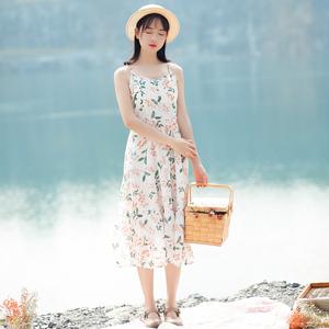 6129#视频大图都有【现货实拍】吊带印花连衣裙