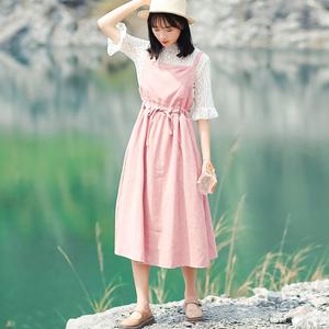 6122#好看摸摸哒【现货实拍】复古文艺背带裙