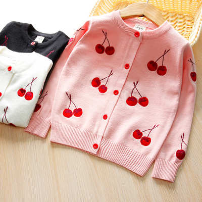 Girls Cardigan 2017 Spring and Autumn with new baby children's clothing small and medium sized children's cotton knit cardigan sweater coat