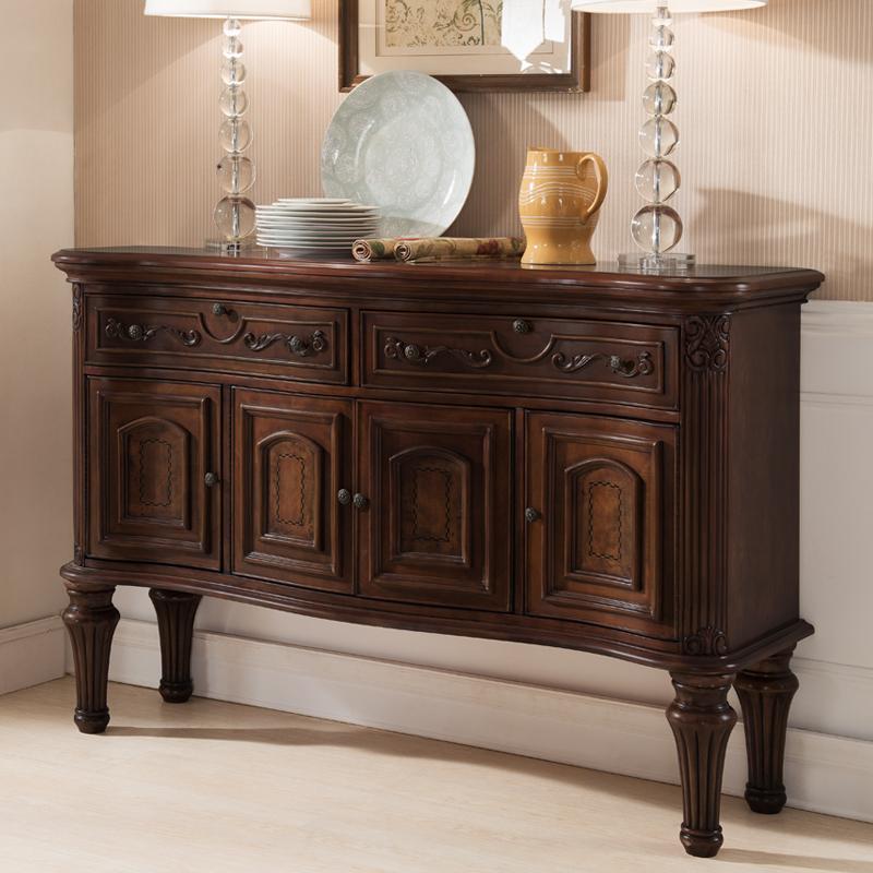 格澜帝尔 简美式实木餐边柜欧式实木酒柜边柜超大型玄关柜 玄关桌
