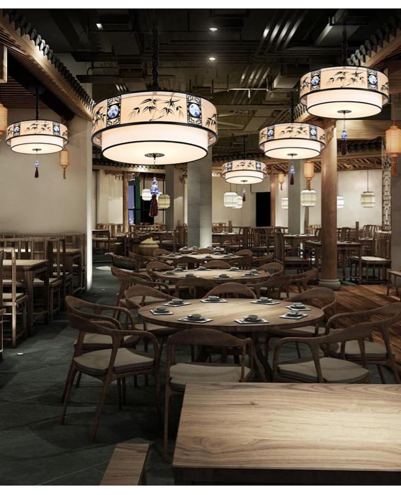新中式吊灯中国风圆形茶楼饭店餐厅仿古火锅店包间灯书房榻榻米