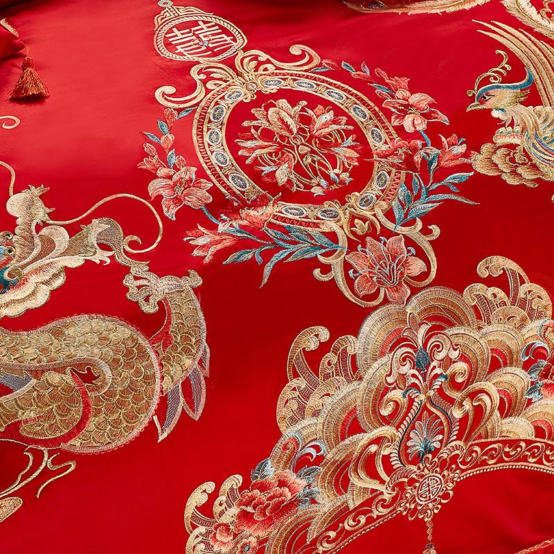 雅牧100支全棉长绒棉婚庆四件套龙凤结婚喜被大红色床品六十件套