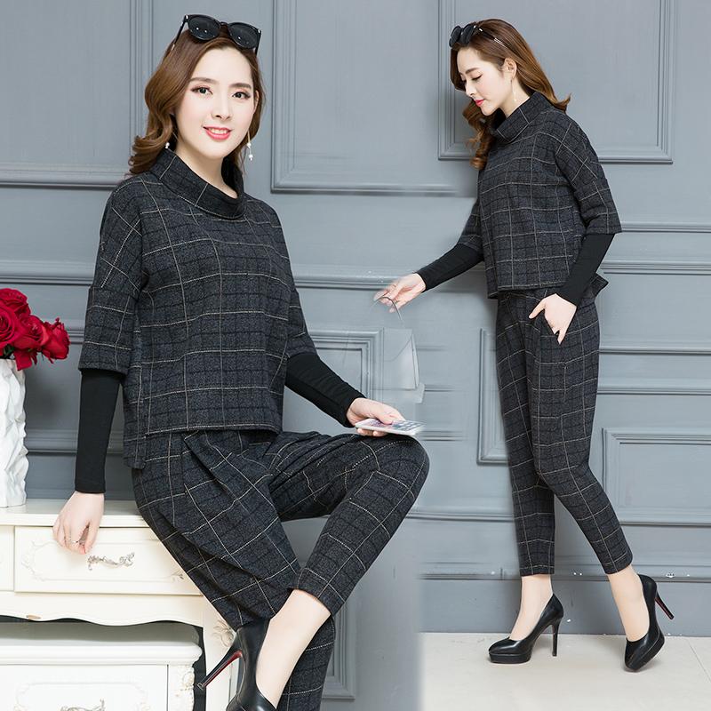 春秋2018新款时尚两件套大码格子套装女气质显瘦英伦风时髦哈伦裤
