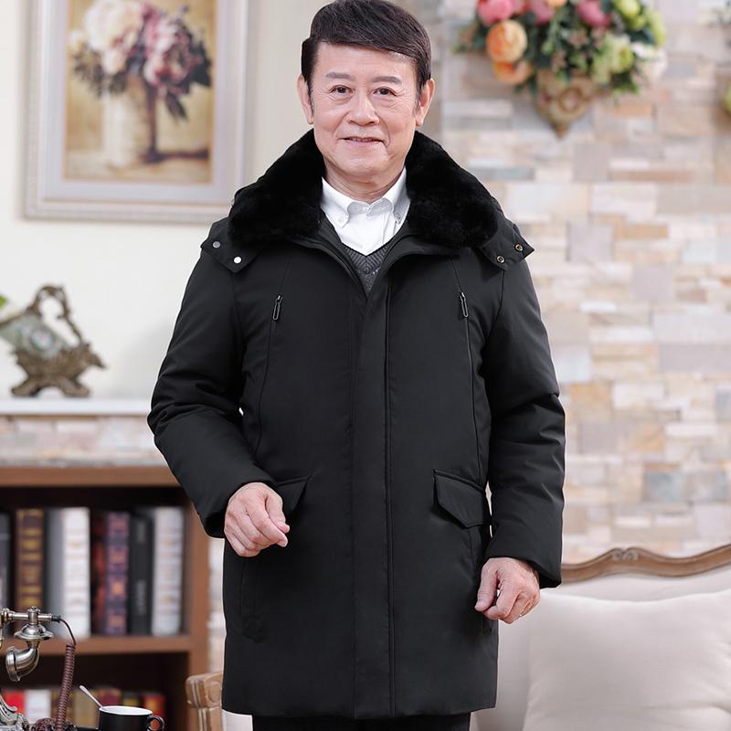 冬季中老年羽绒服男加厚反季爸爸冬装外套中长款中年男士休闲男装