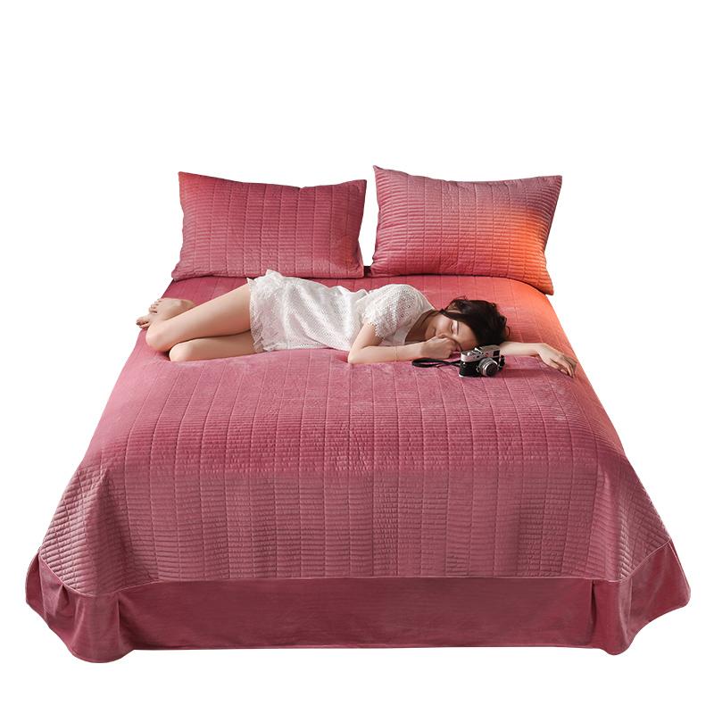水晶绒床盖单件珊瑚绒床单三件套法兰绒加厚夹棉绗缝榻榻米床盖垫
