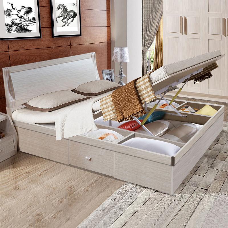 现代简约板式床1.5米小户型1.8米双人床收纳床储物家具气动高箱床