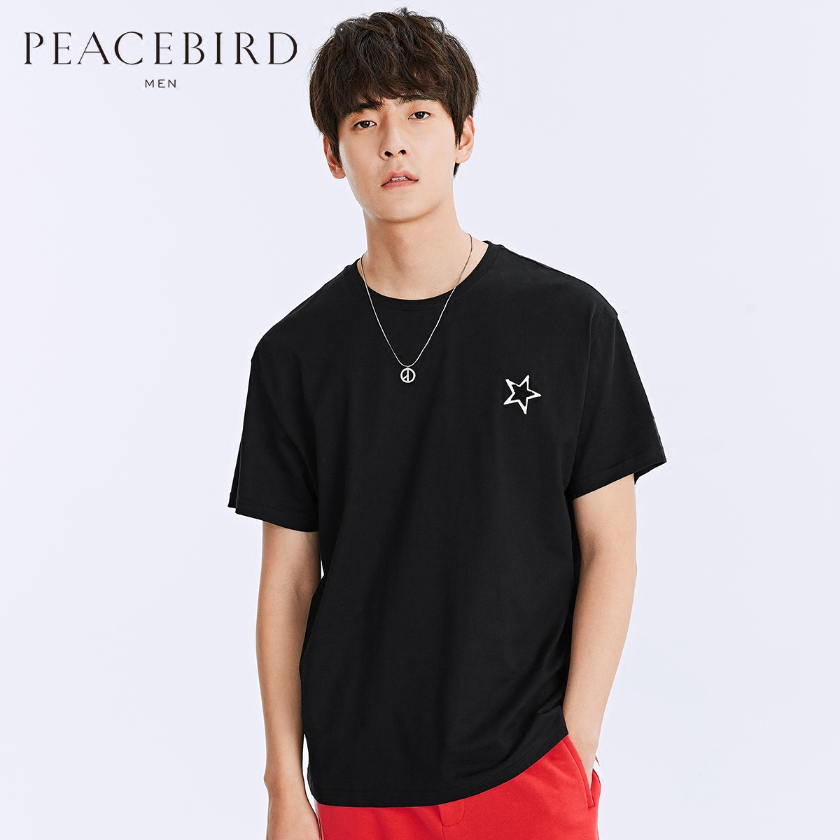 太平鸟男装 2018春装新款 男士黑色宽松植绒刺绣短袖T恤B1DA71215