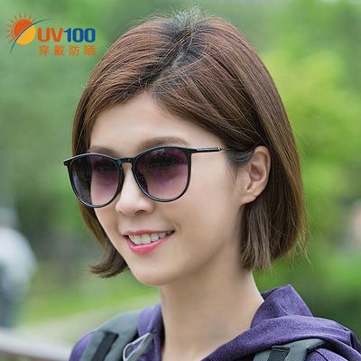 UV100户外太阳眼镜女圆脸防紫外线开车新款时尚个性骑行墨镜81377