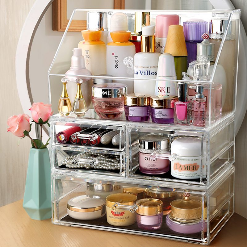 Dustproof cosmetics storage box lipstick skin care dressing table desktop acrylic brush box artifact net red rack