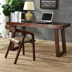 简约现代全实木办公桌子台式家用美式电脑桌椅长餐桌子写字台书桌