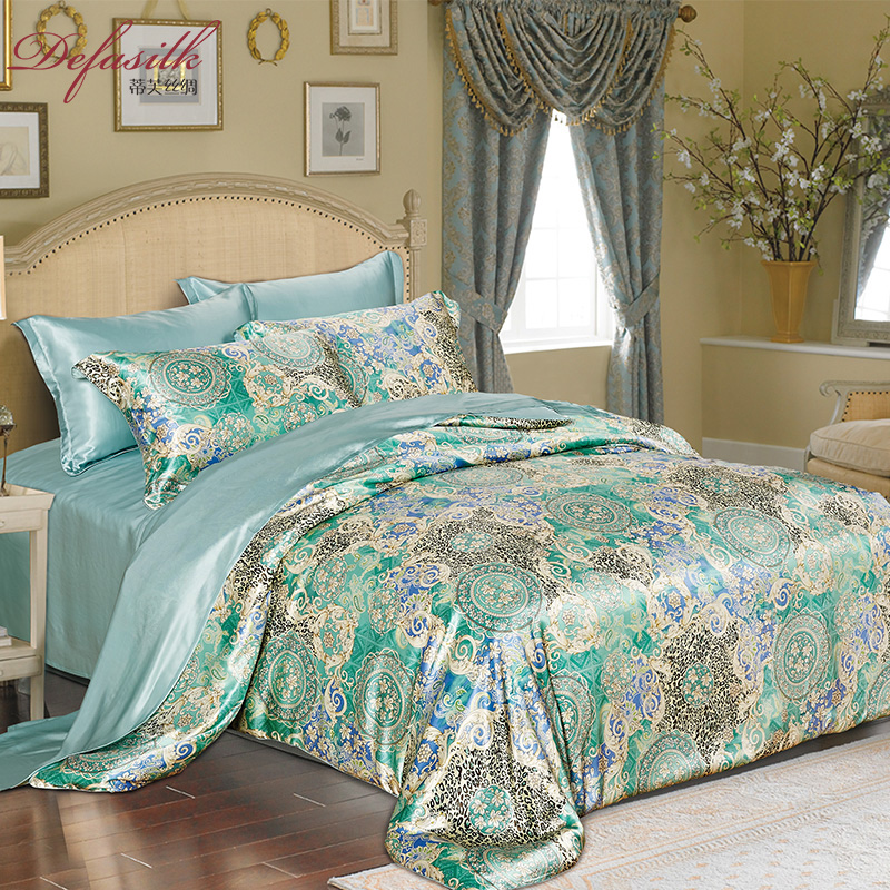 杭州厂家蒂芙丝绸真丝四件套双面宽幅100%桑蚕丝套件床上用品被套