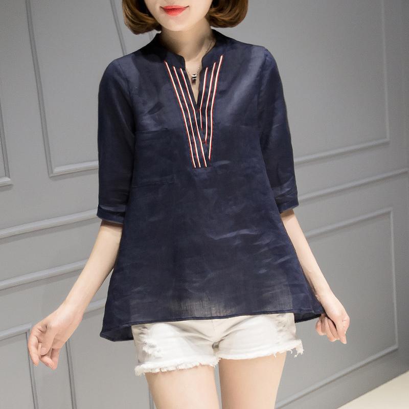 雪纺衫女五分袖韩版2018夏装新款舒适宽松拼接薄遮肚子苎麻上衣女