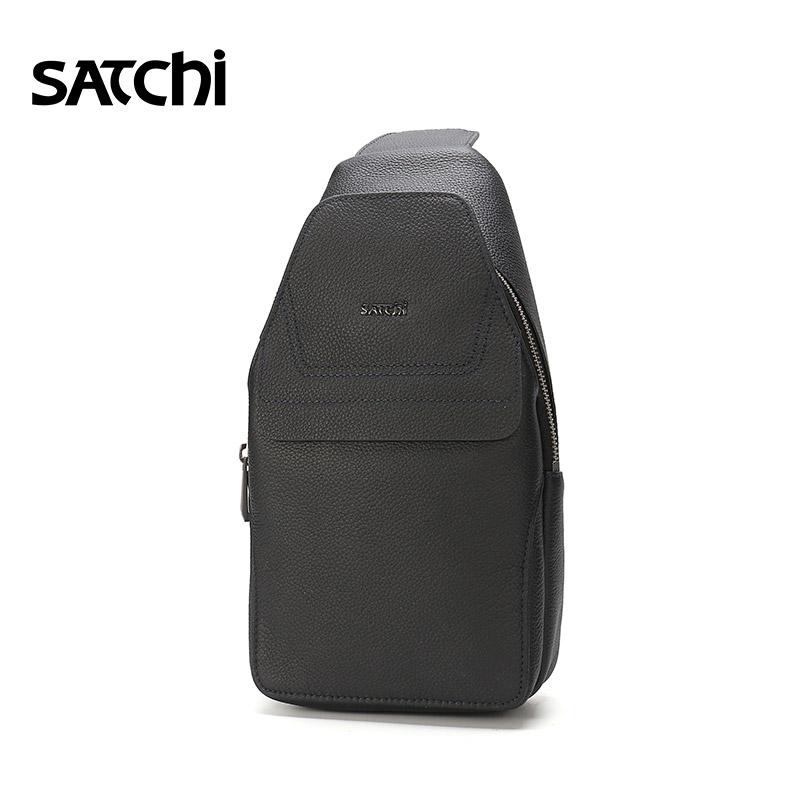 Satchi-沙驰胸包真皮 时尚拼接背包男腰包头层牛皮男挎包大容量包