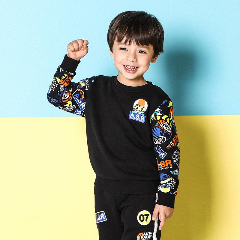 安踏童装 小童卫衣2018春秋新款男小童套头衫 儿童卫衣3-6岁