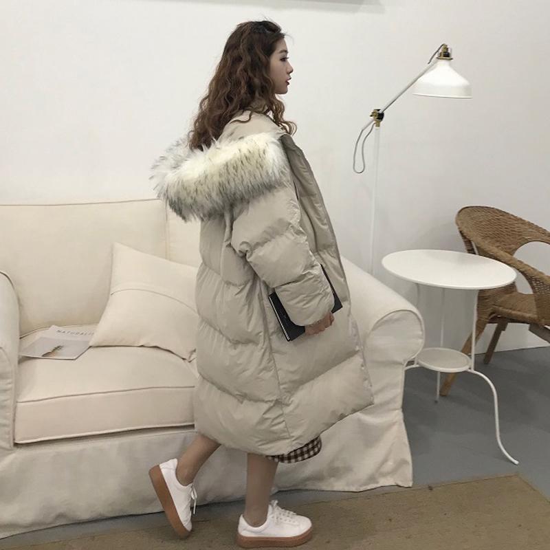 冬季女装韩版大毛领宽松bf风中长款加厚保暖面包服棉衣棉服外套潮
