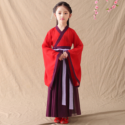 Traditional Chinese culture, Hanfu, children's wear, fairy dress, Han costume, children's clothing, Chinese style girls, ancient dress, skirt.