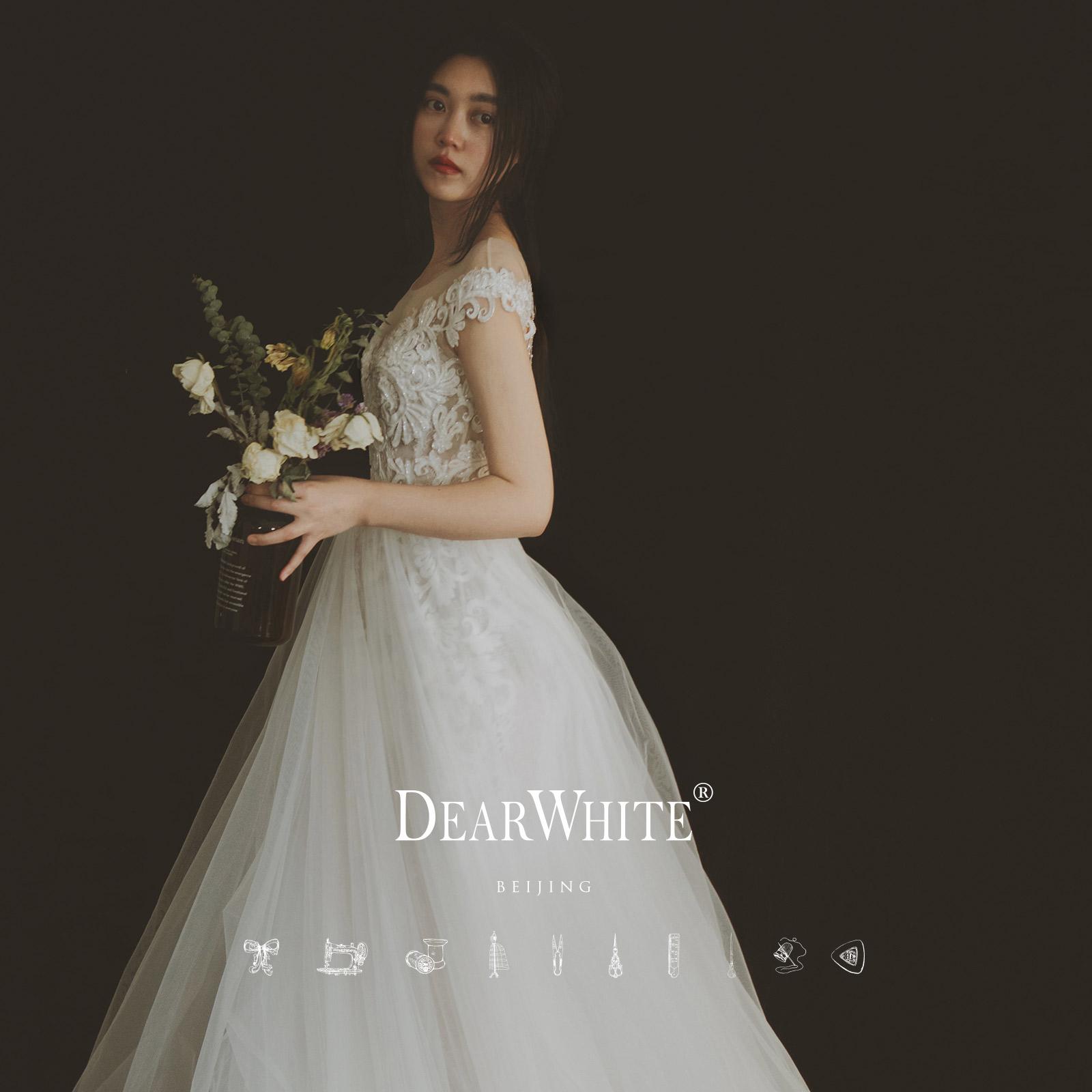 Свадебное платье Дорогой белый Оригинальный подлинный dearwhite свадьба платье молния бригады Fei месяца выстрелил свет лужайки кружева свадебное платье