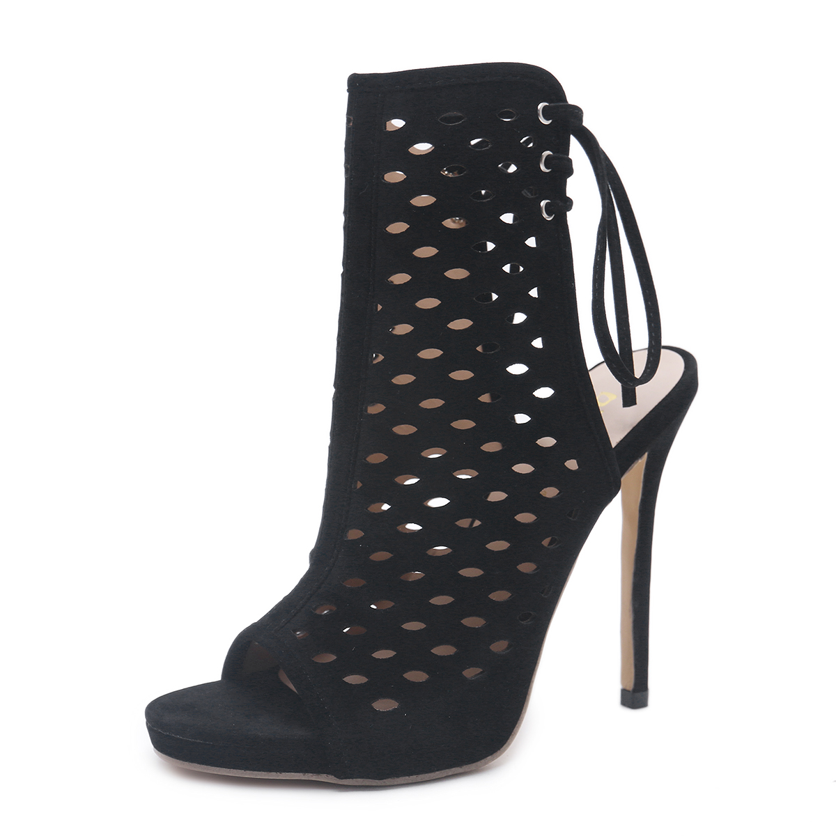 Fashion Week catwalk models high-heeled strap sandals summer hollow lace large size shoes's main photo