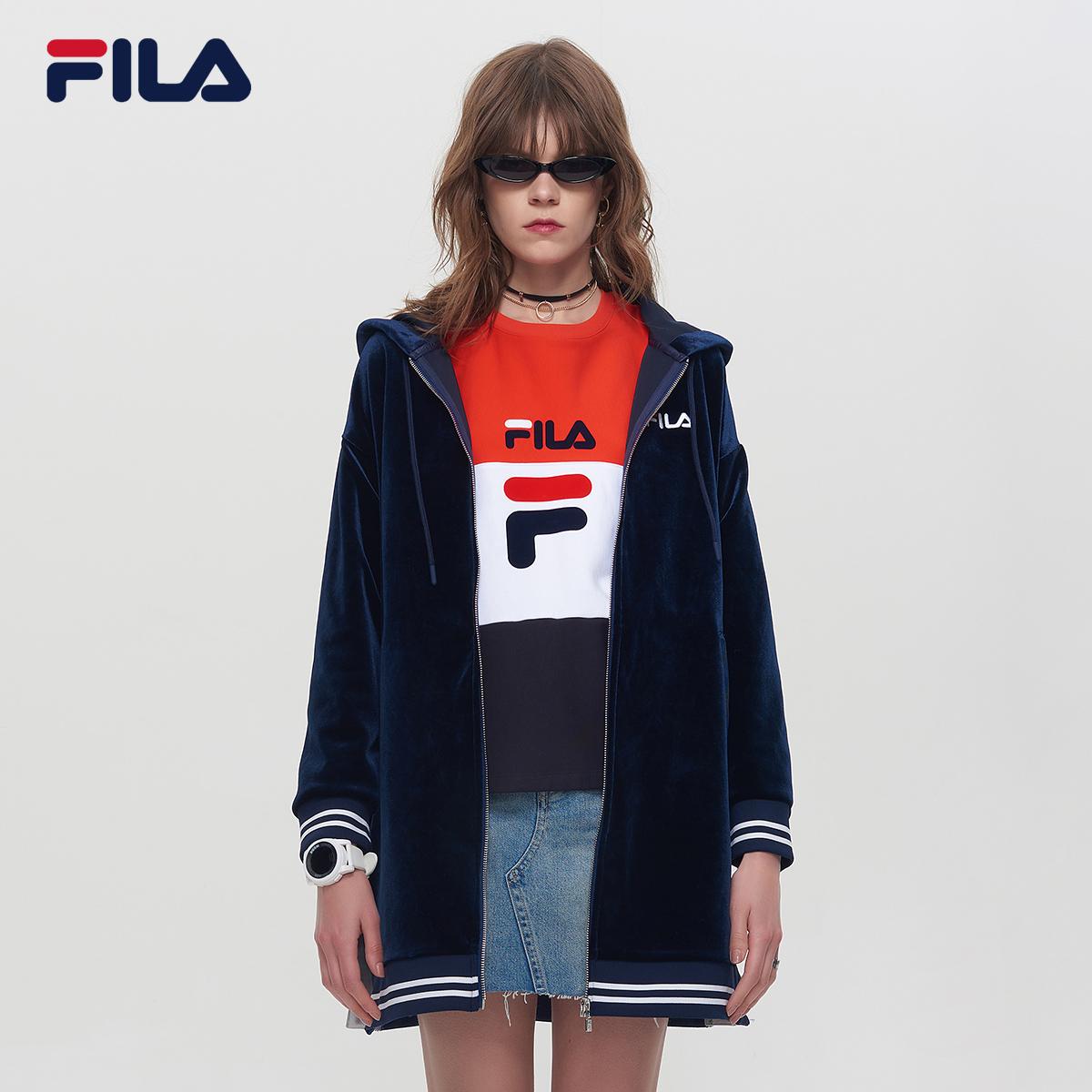 FILA斐乐女外套2018秋季新品街头潮范中长款天鹅绒连帽LOGO外套女