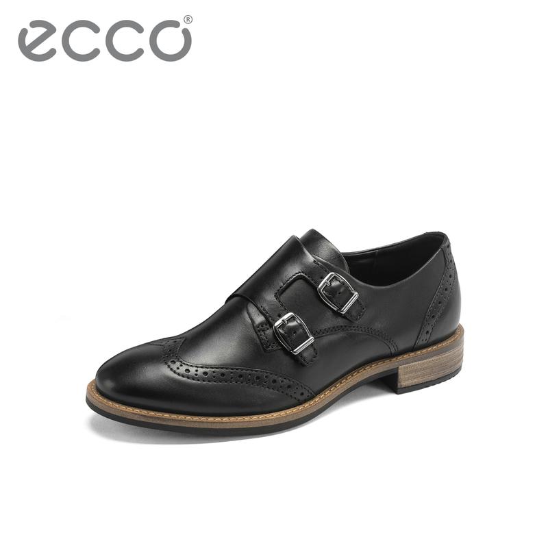 ECCO爱步2019新款僧侣鞋女 秋季黑色复古单鞋小皮鞋女 洒脱266333