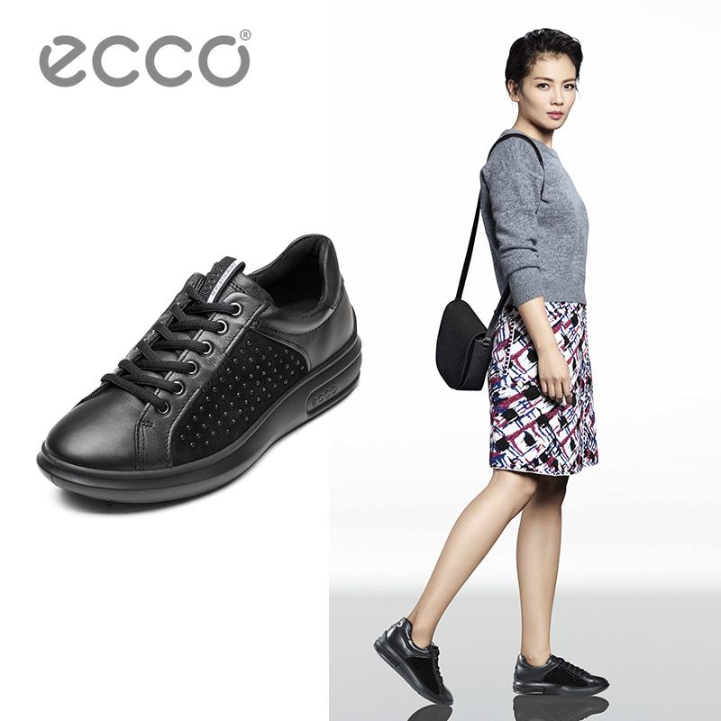 ECCO爱步新款休闲牛皮女鞋平底圆头系带单鞋柔酷3号系列221503