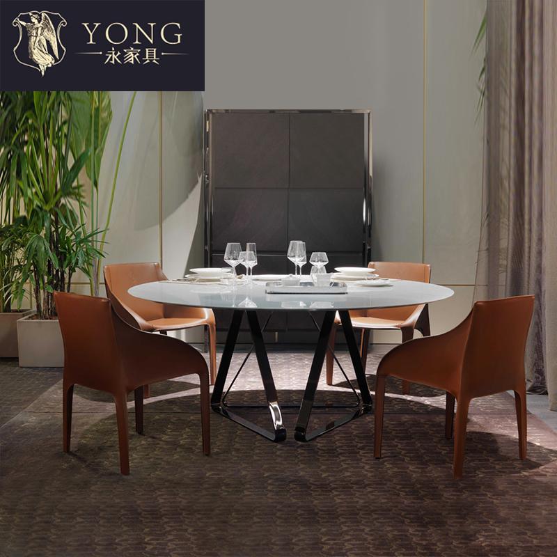 北欧现代简约钛金不锈钢大理石面轻奢餐桌