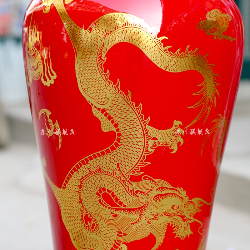 Jingdezhen ceramics China red dragon goddess of mercy bottle of large sitting room adornment big vase hotel furnishing articles