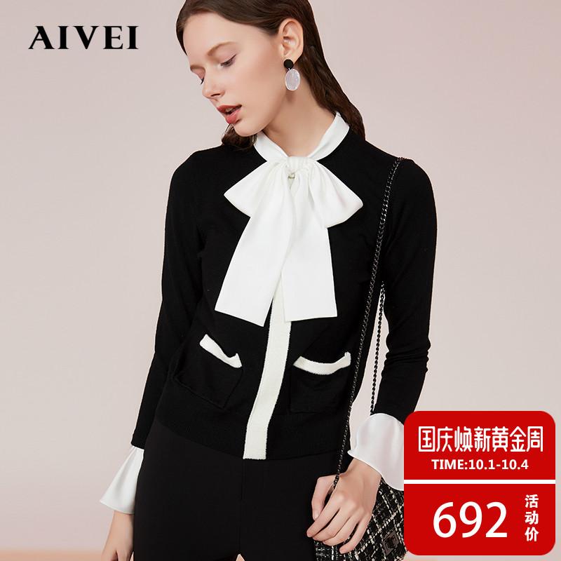 AIVEI欣贺艾薇2018秋新款蝴蝶结系带领带毛衣毛针织衫K0560068