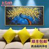 纯手工绘油画客厅装饰画横版现代简约抽象壁画卧室床头挂画发财树