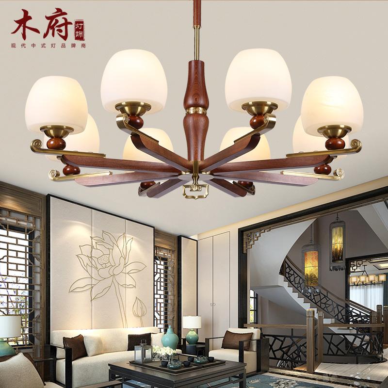 新中式吊灯仿古大气客厅灯全铜灯具现代简约实木餐厅卧室灯中国风