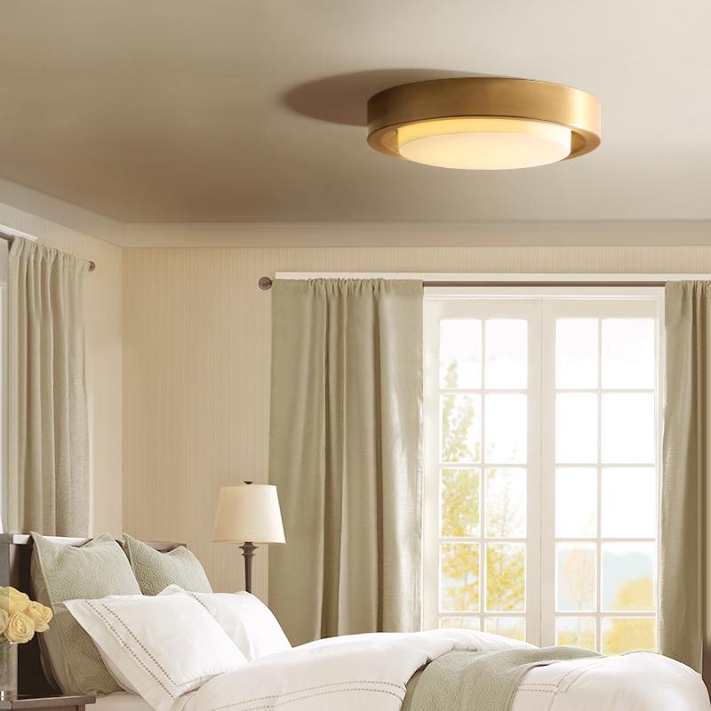 凯乔卧室吸顶灯LED美式客厅过道走廊简约全铜圆形小客厅灯具