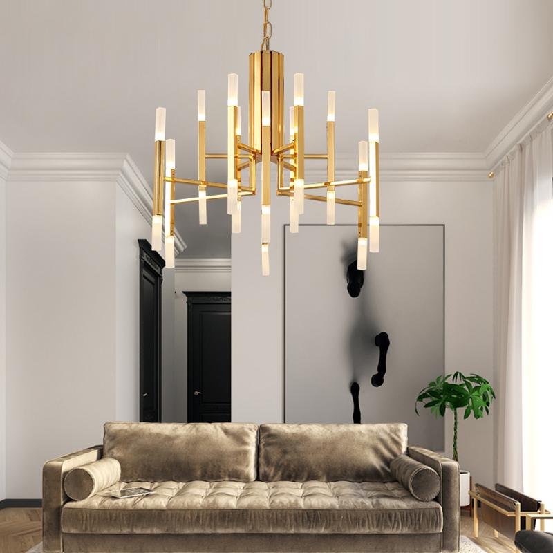 北欧风格灯金色创意个性后现代简约大气卧室LED家用餐厅客厅吊灯