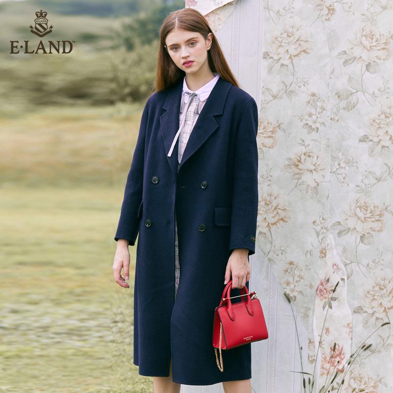 ELAND新款简约韩版chic风双排扣纯羊毛双面尼大衣外套EEJW84T04A
