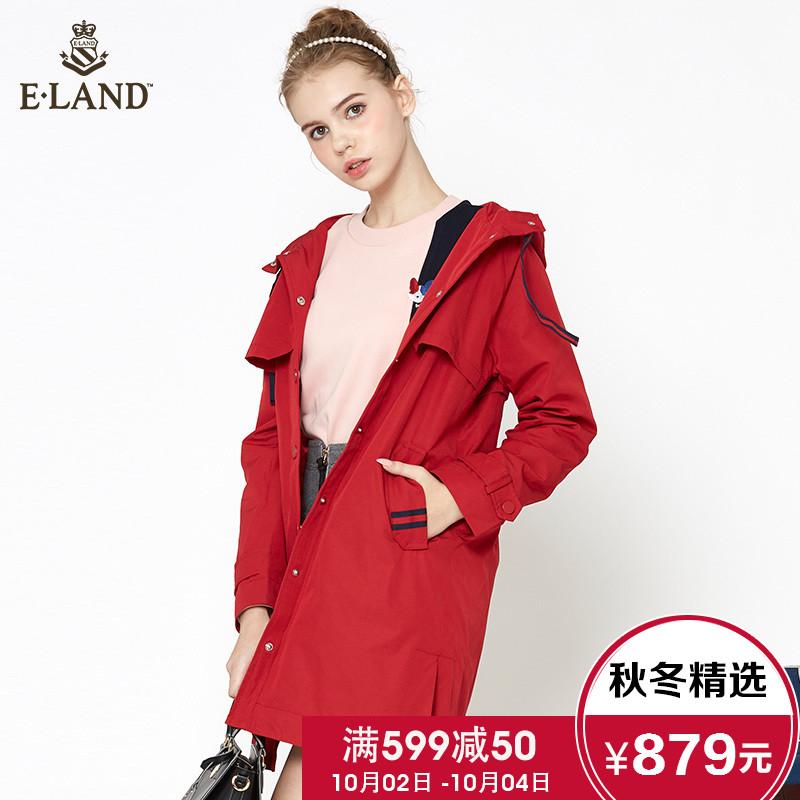 ELAND衣恋18春季新款连帽抽带纯色休闲风衣外套女EEJA86201I
