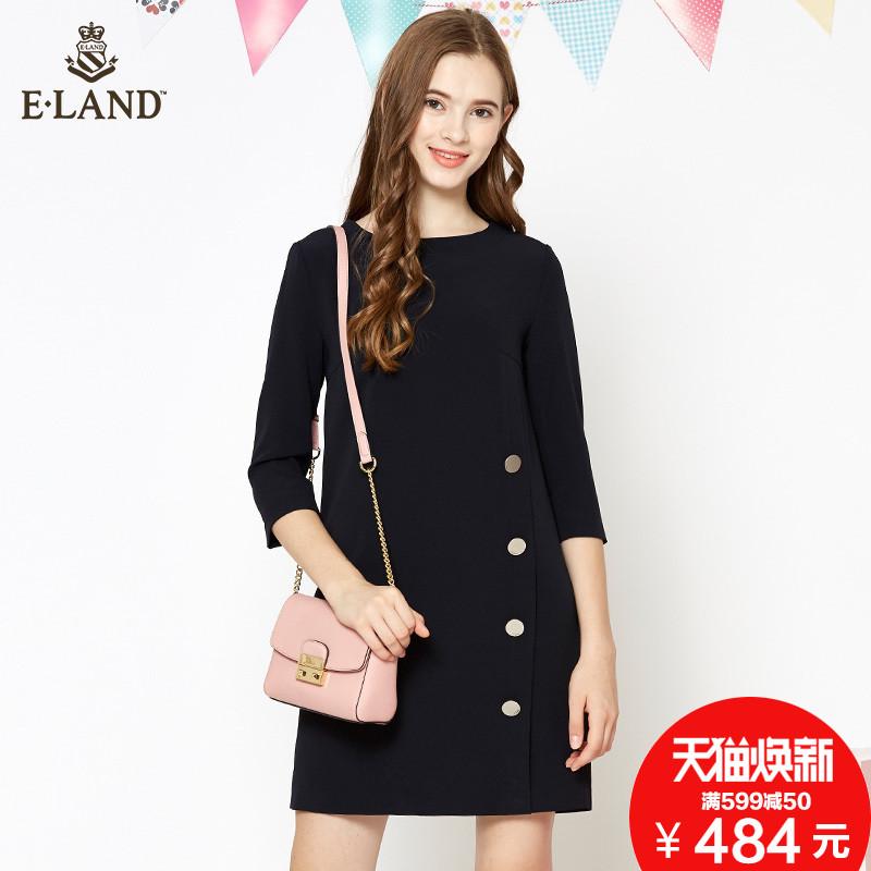 ELAND衣恋秋冬款金属排扣装饰直筒宽松纯色五分袖连衣裙女