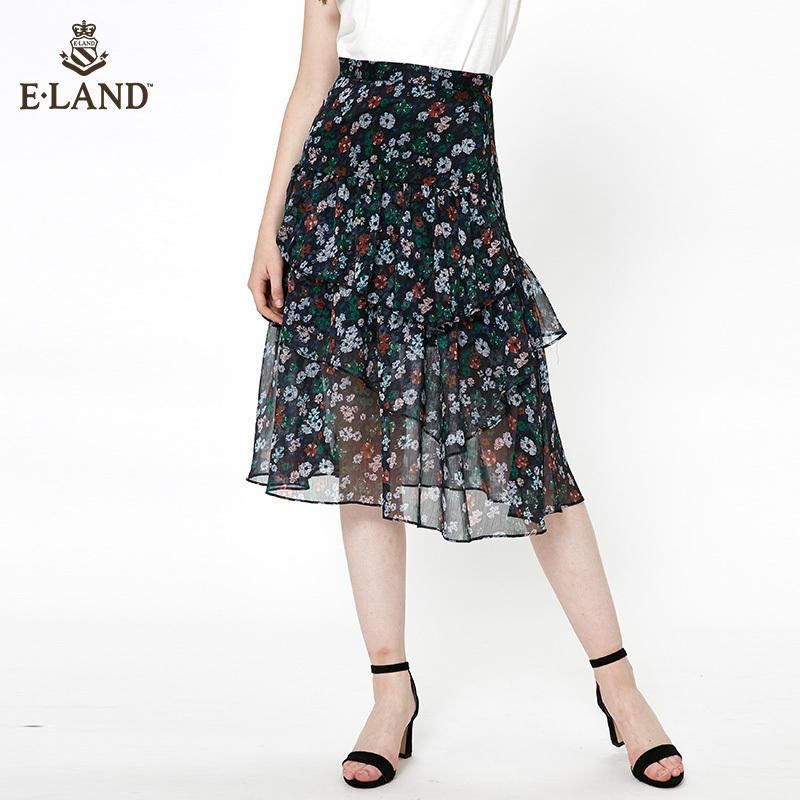 ELAND18夏季新款韩版显瘦通勤碎花雪纺半身裙短裙女EEWH825M7N