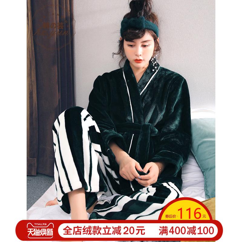 珊瑚绒睡衣女冬季长袖加厚法兰绒家居服日式和服秋款加绒保暖套装
