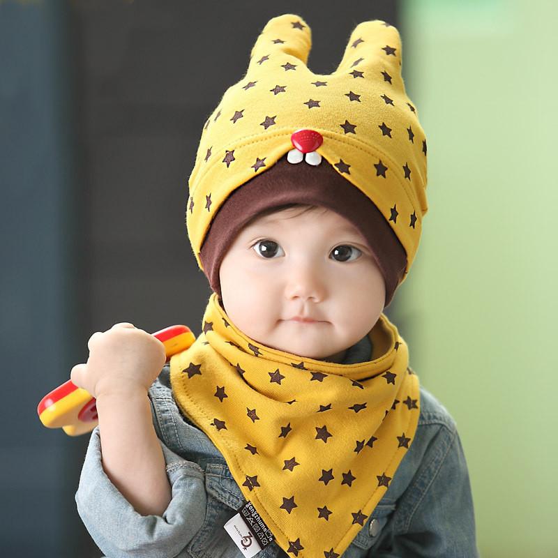 婴儿帽子秋款6-12个月男女童新生儿韩国儿童宝宝套头帽纯棉潮包邮产品展示图5