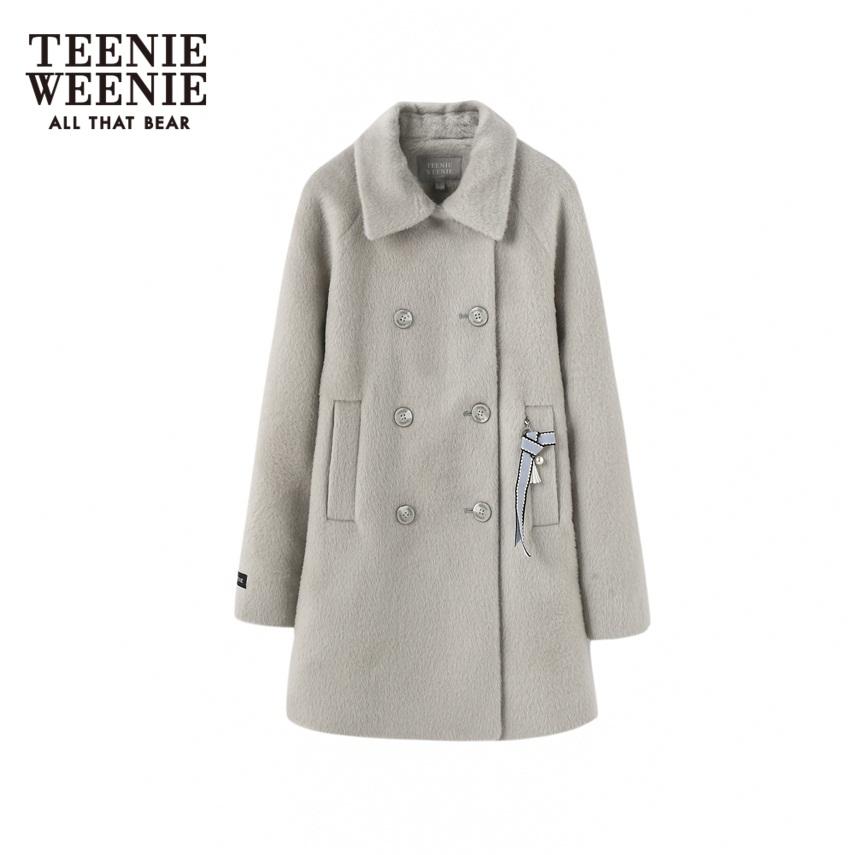 Teenie Weenie小熊冬季女装中长款毛呢外套TTJW74C70W